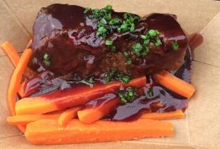 Beef Brisket with brown sugar-glazed carrots