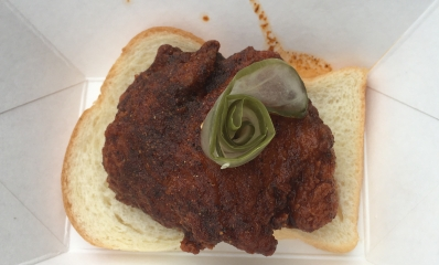 Nashville Fried Hot Turkey with dill pickles